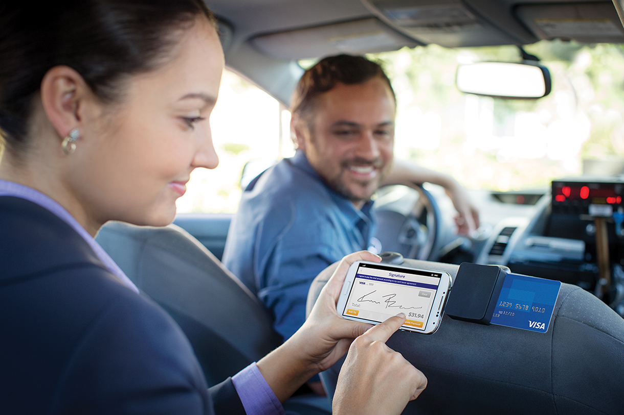 Paying Taxi Fare with Smart Phone Chip Card